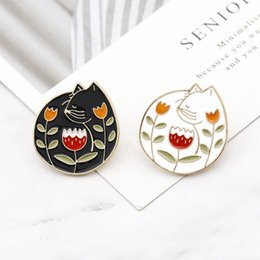 $enCountryForm.capitalKeyWord Australia - Black White Cat with Rose Flower Brooch Metal Badges For Backpack Hard Enamel Pin Cloth Decor Denim Coat Hat Accessory Fashion Jewelry Gift