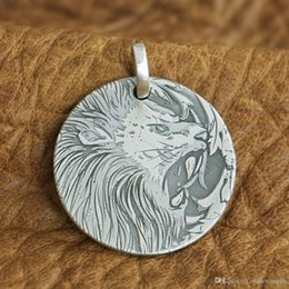 Laser Engraved Pendants NZ - LINSION Laser Engraved Detail 999 Sterling Silver King of Lion Mens Biker Pendant 9X304 JP