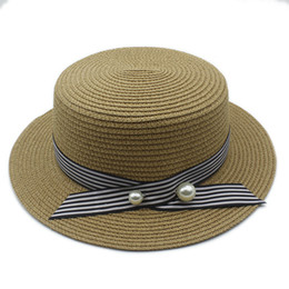 ladies summer fedora Canada - 2017 Fashion Lady Boater Sun Caps Round Stripe Flat Top Straw Fedora Panama Hat Summer Hats For Women Straw Hat 40
