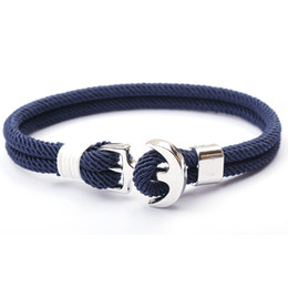 Discount paracord sports - 2019 New Fashion Bracelets Men Charm Chain 550 Paracord Bracelet Anchor Jewelry Male Wrap Metal Sport Sliver Hooks Milan