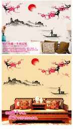 abstract art landscape NZ - Plum Sunrise landscape Chinese style art Wall Stickers Living room Bedroom background for home decoration Mural Decals wallpaper