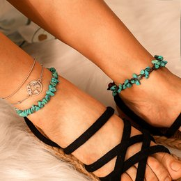 $enCountryForm.capitalKeyWord NZ - Fashion Beach Geometric Stone Anklets Bracelets Trendy Blue Color Irregular Natural Stone Rope Anklets For Female Party Gifts