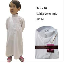 $enCountryForm.capitalKeyWord Australia - Boys Qatar Arab children white robe Muslim tee shirt de designer 6~18 years old children clothing Kids Moslem long shirts clothes