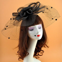 Wholesale Mesh Floral Fascinator Retro Style Oversize Netted Dots Fascinator Hats Festival Party Hair Clips Extensions for Girls
