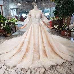 Cathedral Style Wedding Dresses Australia - 2019 Newest Lebanon Style Wedding Dresses Sexy Deep V-Neck Long Illusion Sleeve Wedding Gowns Detail Applique Open Keyhole Back Bridal Gowns
