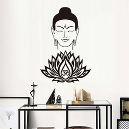 wall stickers yoga Australia - 1 Pcs High Quality Wall Sticker Waterproof Price Buddhism Believer Home Decor Buddha Face Lotus Vinyl Removable Art Yoga Bedroom Decal