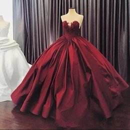Silver quinceanera dreSSeS online shopping - Burgundy Quinceanera Dresses Ball Gown Sweetheart Lace Up Floor Length Masquerade Dresses Satin Appliques Vintage Long Prom Gowns BA5292