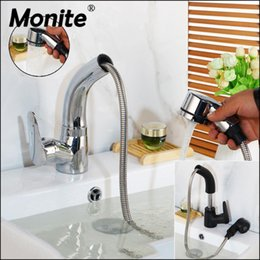 kitchen taps pull out black NZ - Monite Pull Out Solid Brass Stream Spray Spout Black Chrome Brass Deck Mount Tap Kitchen Sink Crane Faucet Mixer Polish Tap