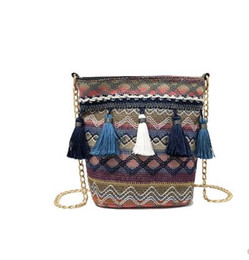 $enCountryForm.capitalKeyWord UK - 2019 new Chinese style super fire chain diagonal cross package Harajuku national wind canvas tassel bucket bag
