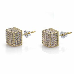 stud backs Australia - Europe and America Hotsale Iced Out Bling CZ Round Earring Gold Silver Color Plated Stud Earrings Screw Back Fashion Hip Hop Jewelry