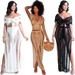 $enCountryForm.capitalKeyWord NZ - women's nightclubs hollow perspective nightclub knit skirt beach two-piece suit women designer maxi dresses clothes dresses