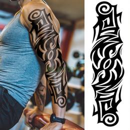 c6e10ba8d Waterproof Temporary Tattoo Sticker totem black full arm large fake tatto  flash tatoo sleeve tattoos for men women