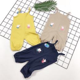 Cotton Flannel Pants Australia - 2019 New spring summer Children's kids Casual pants fashion Comfortable breathable Piglet bib