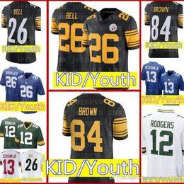 534ba16d9 Kid 84 Antonio Brown 90 T.J. Watt 26 Le Veon Bell Jersey Pittsburgh Youth  KIDS Steelers Football Jerseys Color Rush Limited