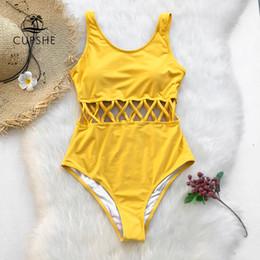 9650db036b31d Cupshe Yellow Cutout Solid One-piece Swimsuit Women Plain Cross Sexy  Bodysuits Swimwear 2019 New Beach Bathing Suits Monokinis J190519