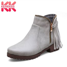 $enCountryForm.capitalKeyWord Australia - KemeKiss Plus Size 33-47 Ankle Boots For Women Western Style Tassel Flats Shoes Women New Winter Zipper Cowboy Short Boots