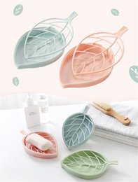 Nouvelle maison boîte à savon stockage domestique multi-fonctionnelle salle de bains douche Feuille Forme boîte à savon Plaque vaisselle Plateau de rangement Porte-conteneur Case en Solde