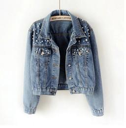 $enCountryForm.capitalKeyWord Australia - Plus size bead short denim jacket 5Xl women's long sleeve denim jacket retro casual bomber