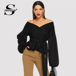 d5a8b4b050 Sheinside Black Sexy Off the Shoulder Blouses Women 2019 Spring Elegant  Puff Sleeve Blouse Casual Flounce Hem Waistline Shirt
