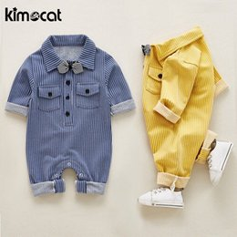 $enCountryForm.capitalKeyWord NZ - Kimocat Autumn Spring Baby Boy Clothes Long Sleeve Striped Cotton Handsome Necktie Baby Rompers New Born Baby Clothes Jump J190524