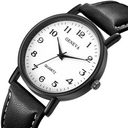 Watches for business online shopping - Fashion mens male simple black dial geneva leather watach men students business quartz wrist watch for men