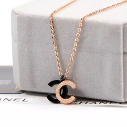 DiamonD ring necklace set online shopping - Top quality Brand Jewelry girls letter Pendant Necklace Women black rose matte Charm Necklace Fashion Stainless Steel Necklace