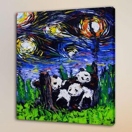Giant Figure Australia - Van Gogh The Giant Panda,HD Canvas Print Home Decor Art Painting Unframed Framed