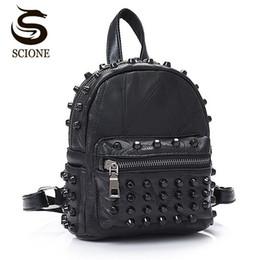 $enCountryForm.capitalKeyWord Australia - Women Small Good Leather Backpack Rivet Bagpack Daily Cute Black Backpack For Teenager Girls Schoolbag Casual Travel Rucksack Y190627