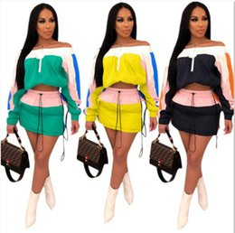 $enCountryForm.capitalKeyWord NZ - Women Patchwork Summer Tracksuit Sun-protective Outfit Long Sleeve Shoulder Out Top Jacket + Short Dress Skirt 2 Piece Sportswear A3252