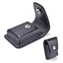China High-grade Leather Cover Windproof Black Zippo Lighter Men Cigarette Lighter Holder Bag Small BoxCase For Zippo Super Match supplier wholesale smallest lighter suppliers