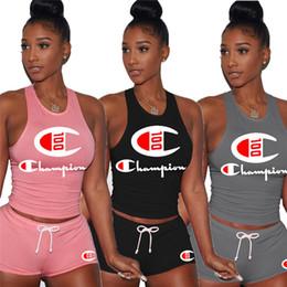 short sport jogging woman 2019 - Champion Women outfits sleeveless two piece set tracksuit jogging sportsuit shirt short legging outfits sweatshit pants