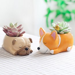 Fiber Pots Australia - 1pcs 2018 New Flowerpot Puppy Resin Planter Succulents Cute Corgi Mini Desktop Pot Jardin Bonsai Decoration Gift For Home C19041901