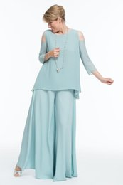 05ed8738e63 Light Sky Blue Chiffon Mother Of The Bride Pant Suits 2019 Two Piece Beach  Wedding Guest Dress Cheap Groom Mothers Formal Trousers Suits