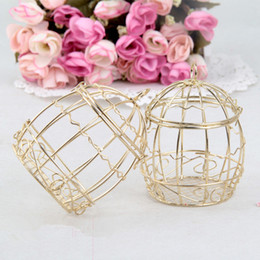 gold candy boxes UK - Iron Birdcage Wedding Candy Box Creative Gold Metal Wedding Favor Tin Box European Romantic Party Festival Gift Case TTA2059-1