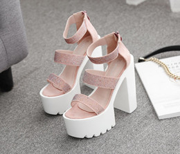 Wholesale sparkling pink shoes for sale - Group buy Alluring2019 Day Hate Shoes Sparkle Rhinestone Coarse Waterproof Platform High With Sandals