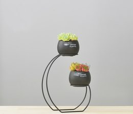 $enCountryForm.capitalKeyWord Australia - Set of 2 Cement Succulent Planter Pots Round Flower Pot Flower Planter with Iron Metal Shelf