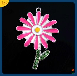 $enCountryForm.capitalKeyWord Australia - Doluo Easter Fashion Jewelry 48*35mm 10pcs Zice Alloy Sunflower Rhinestone Pendants for Chunky Beads Necklace DIY Enamel Charm for Kids