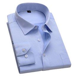 $enCountryForm.capitalKeyWord NZ - New Design Twill Cotton Pure Color White Business Formal Dress Shirts Men Fashion Long Sleeve Social Shirt Big Size 5xl 6xl Q190514