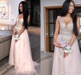 $enCountryForm.capitalKeyWord Australia - African Baby Pink Mermaid Prom Dresses V Neck See Through Major Beading Sweep Train Long Formal Evening Party Gowns Special Occasion Dress
