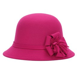 novelty flower hat NZ - Women Vintage Warm Bucket Hat Wide Brim Round Adults Cloche Bowler Cap Autumn Winter Flower Felt Fashion Elegant Imitation Wool