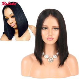 Human Hair Lace Wigs Free Shipping Australia - Rabake Short Lace Front Human Hair Wigs Brazilian Remy Hair Bob Wig with Pre Plucked Hairline Bleached Knots Free Shipping