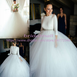 27e2fd85a93a5 Elegant 2019 Ball Gown Wedding Dresses With Beaded Crystal Sash 3 4 Sleeves  Boho Beach Bridal Gowns Covered Button Back Vestidos De Novia