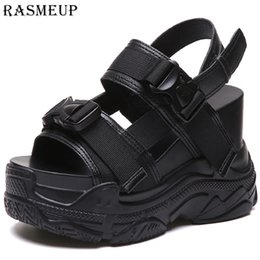 sport shoes platform wedge Canada - RASMEUP 12CM Platform Women Wedge Sport Sandals High Heel Gladiators Fashion Sneakers Summer Shoes Creepers Comfortable Shoes Y200702