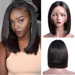 14 inch wigs straight Australia - Modern Show Cheap 130% Density Straight Bob Lace Wigs Thin and Light Remy BOBO Straight 8 10 12 14 Inch Human Hair Lace Frontal Wigs