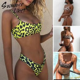$enCountryForm.capitalKeyWord Australia - Strappy Leopard Print Swimsuit 2019 Bandeau Bikini Top High Cut Thong Women Swimwear Push Up Sexy Bandeau Bathing Suit Bqiuini Y19072501