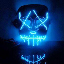 $enCountryForm.capitalKeyWord Australia - Halloween Costume LED Mask The Purge Movie EL Wire DJ Party Festival New Masks Cosplay Costume Supplies Glow In Dark skull masks