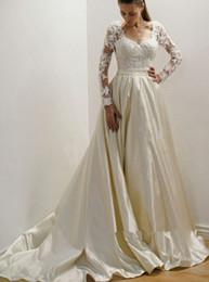 Long bLack taffeta skirt online shopping - Elegant Taffeta Long Sleeve Empire Wedding Dresses Vintage Simple Lace Stain Sweep Train Church Garden Princess Wedding Gown