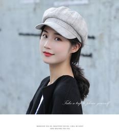 $enCountryForm.capitalKeyWord Australia - Maxi High Quality Women's British Style Checked Pumpkin Hat Visor Beret Newsboy Cap for Ladies Cotton Adjustable joker fashion cap