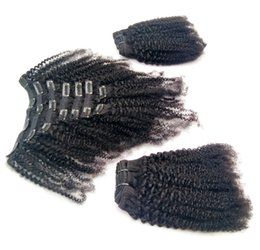 """$enCountryForm.capitalKeyWord NZ - Indian Afro Kinky Curly Weave Remy Hair Clip In Human Hair Extensions Natural Color Full Head 8Pcs Set 120G 8""""-20"""" Ship Free"""