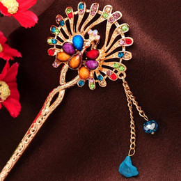 $enCountryForm.capitalKeyWord NZ - New Design Hair Stick Artificial jade Colorful Crystal peacock Chains Hairpin
